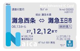 Naica通勤定期券見本画像